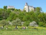 Après le bain de boue : les pommiers, les fleurs et le château qui nous attend là-haut...